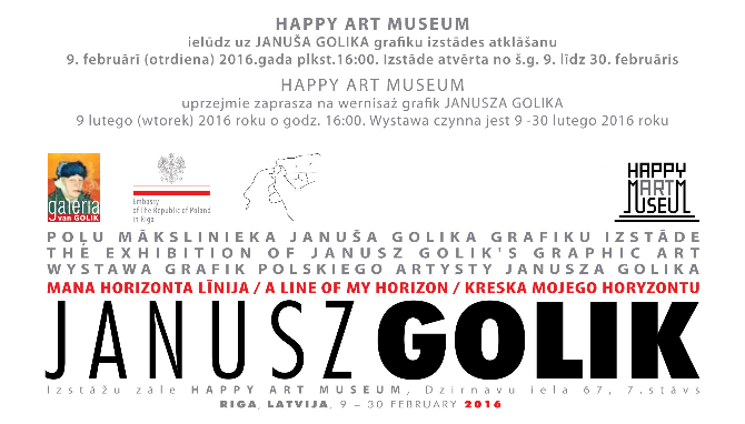 Riga will be seen Polish artist Golik exhibition  gallery Happy Art Museum 16:00 9.02