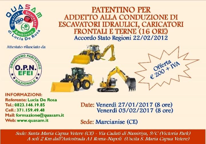 Patentino addetto escavatori, caricatori e terne