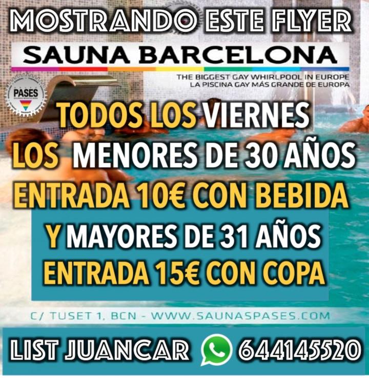 VIERNES JOVEN EN LA SAUNA BARCELONA 10€ CON B
