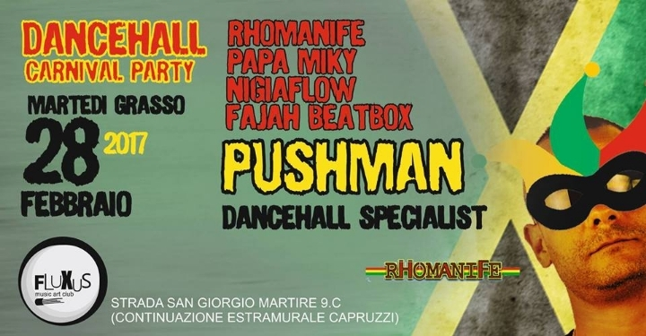Rhomanife, big carneval party al Fluxus di Ba