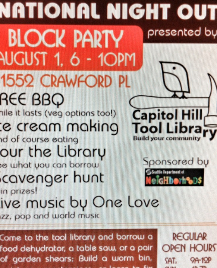 Capitol Hill Tool Library National Night Out