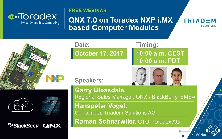 Guest webinar: QNX 7.0 on Toradex NXP® i.MX based Computer Modules