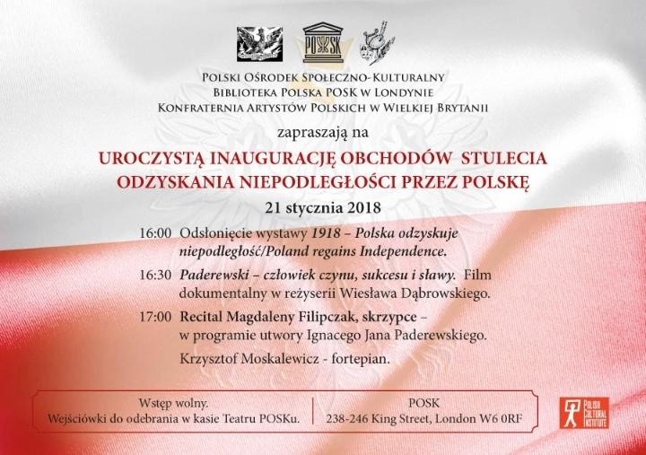 Stulecie Odzyskania Niepodległości przez Polskę - inauguracja