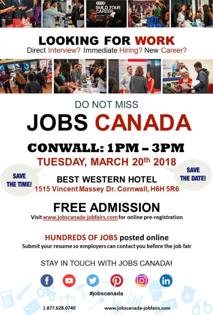 Cornwall Job Fair – Tuesday, March 20th, 2018