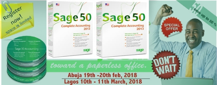2 DAYS SAGE 50 ACCOUNTING TRAINING - N30,000 ABUJA AND LAGOS