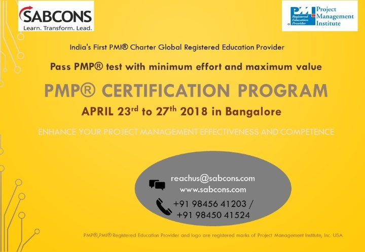 PMP® Certification program on 6th Edition from 23rd to 27th April 2018