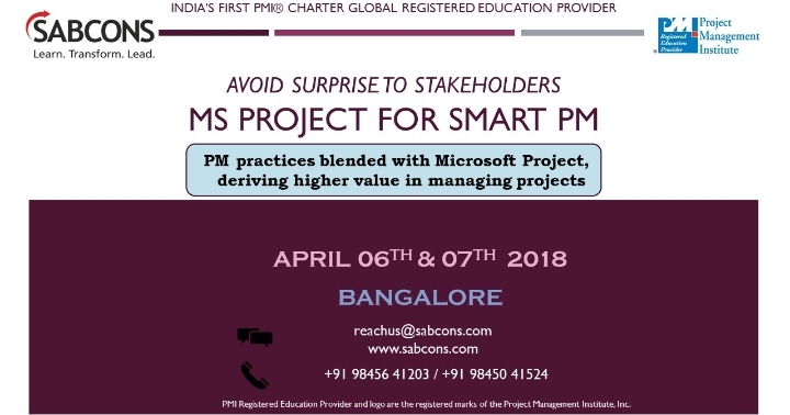 MS Project Training 06th and 07th April 2018