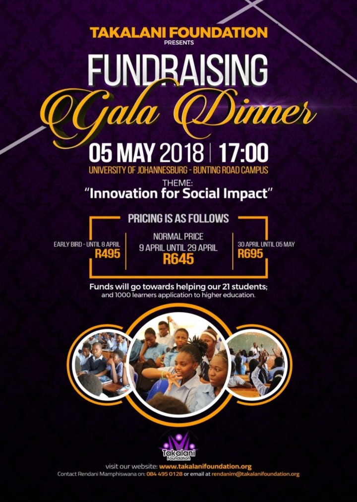 Takalani Foundation fundraising gala dinner 2