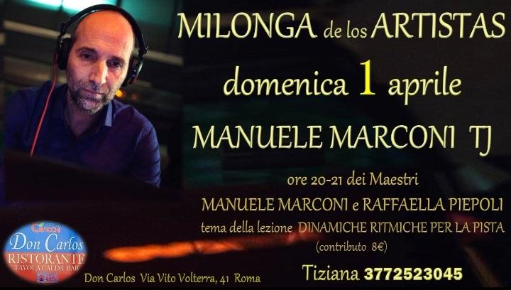 Domenica 1 aprile  Manuele Marconi Milonga de