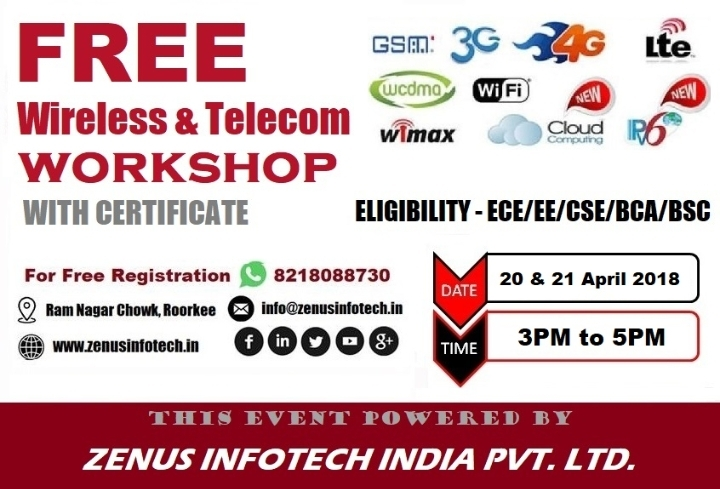 Two Day Free Workshop on Wireless & Telecom with Certificate in Roorkee
