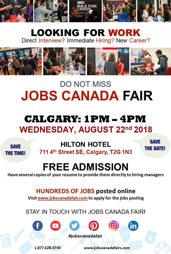 CALGARY JOB FAIR – August 22nd, 2018