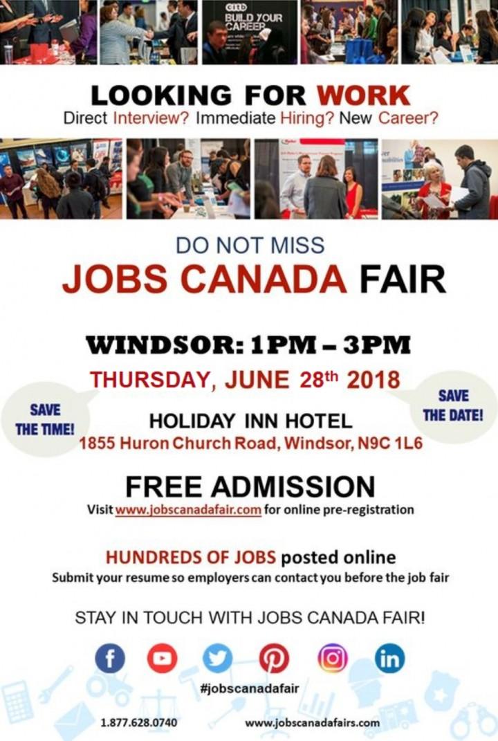 Windsor Job Fair – June 28th, 2018