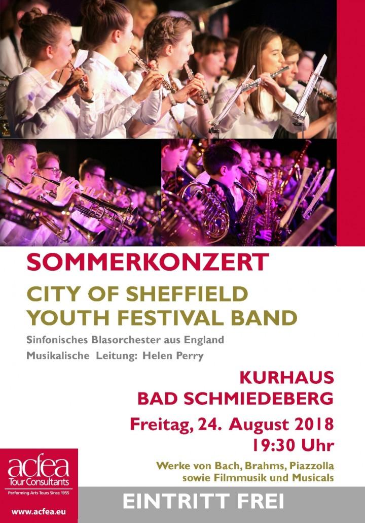 City of Sheffield Youth Festival Band – Sommerkonzert Kurhaus Bad Schmiedeberg