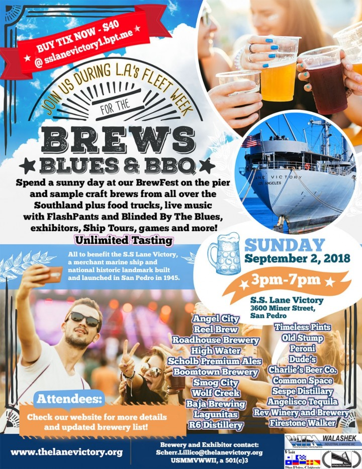 Brews, Blues & BBQ at S.S. Lane Victory - Sep