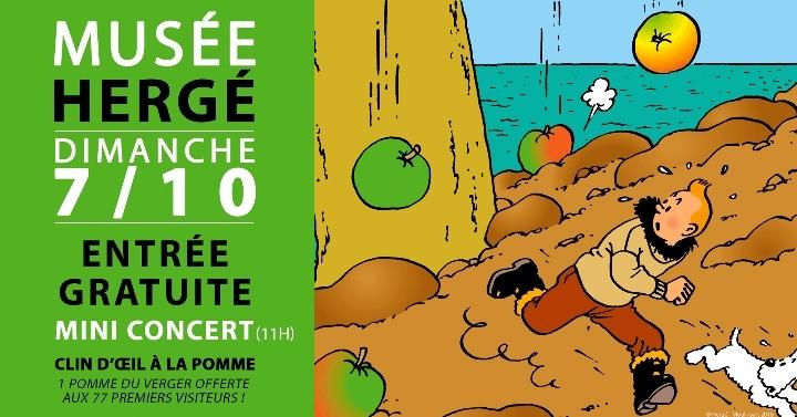 Gratuité, concert et clin d'oeil à la pomme au Musée Hergé