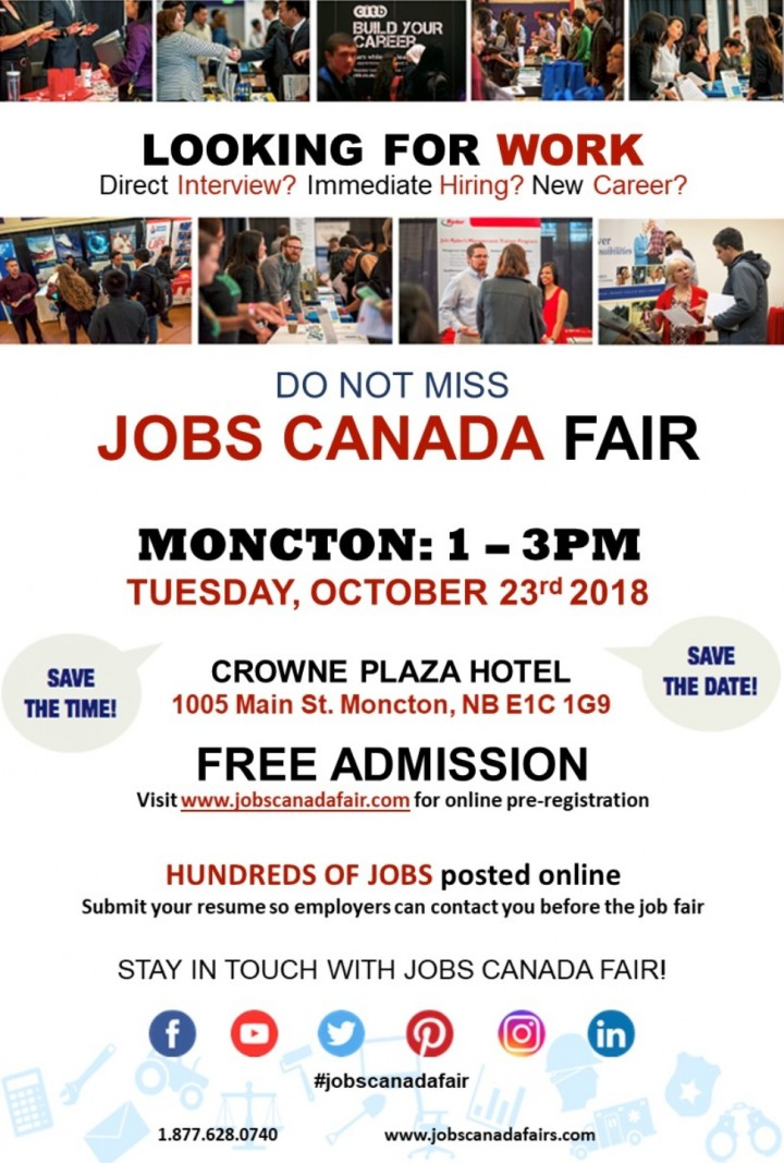 FREE: Moncton Job Fair – September 18th 2018