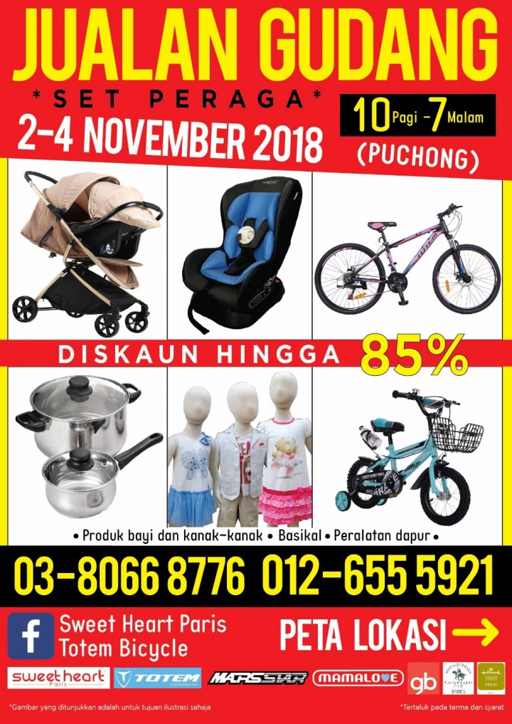 Jualan Gudang Puchong: Year End Sale Up to 85% Off from 2 – 4 Nov 2018