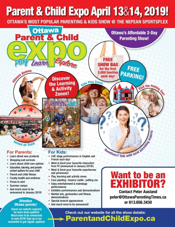 Ottawa Parent & Child Expo April 13-14, 2019 @ Nepean Sportsplex - Entrance 4