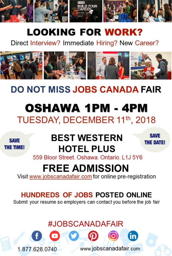 Oshawa Job Fair - December 11th, 2018