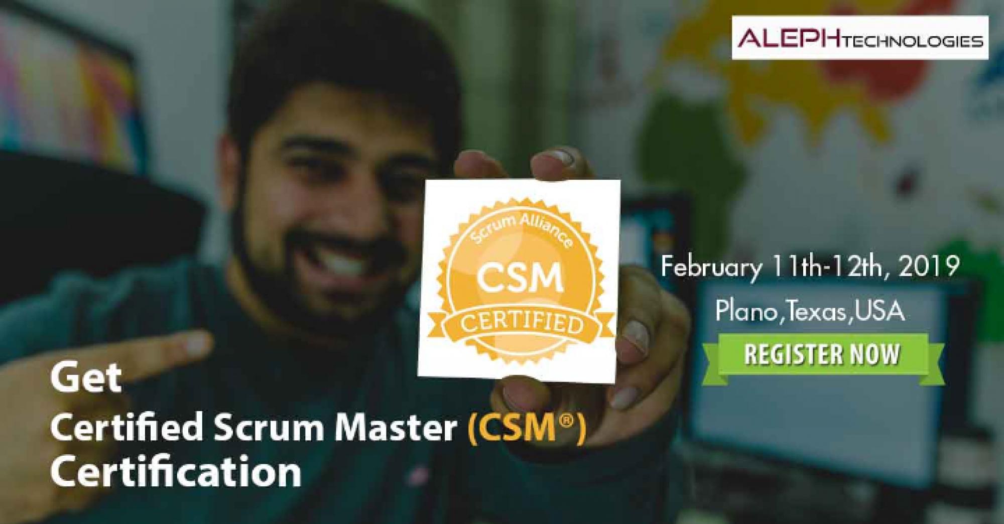 Certified Scrum Master Aleph Technologies Scrum Alliance Csm