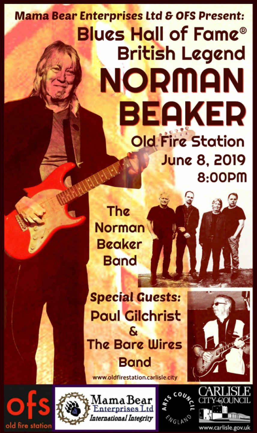 Blues Hall of Fame British Legend Norman Beaker & Band at Old Fire Station, Carlisle