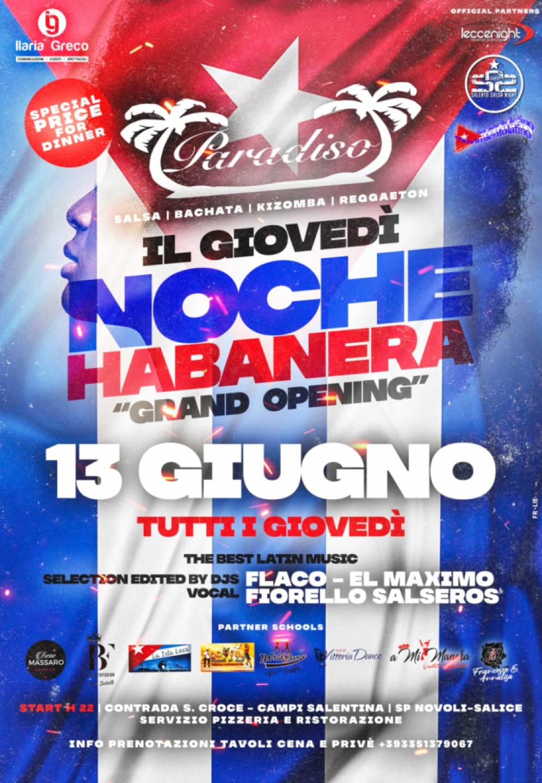 Il giovedì Noche Habanera al Paradiso Pizzeria di Novoli