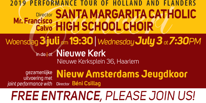 Haarlem, free choral concert by Nieuw Amsterdams Jeugdkoor and SMCHSC!
