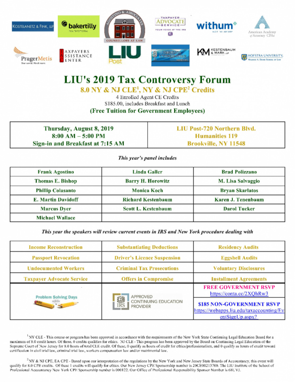 LIU's 2019 Tax Controversy Forum