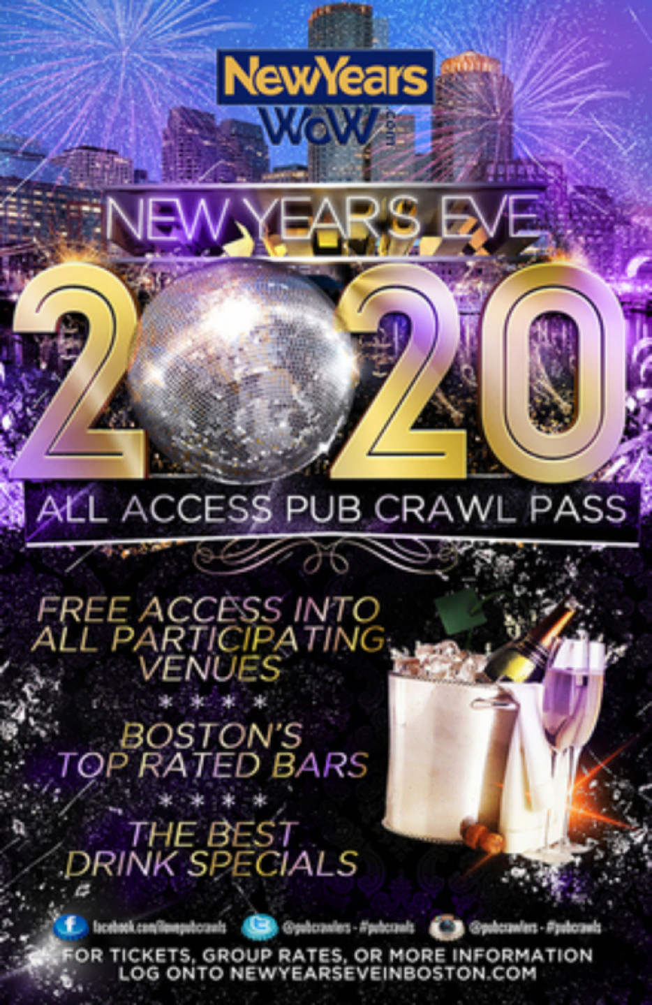 Boston New Year's Eve All Access Pub Crawl Pass NYE (Faneuil Hall)