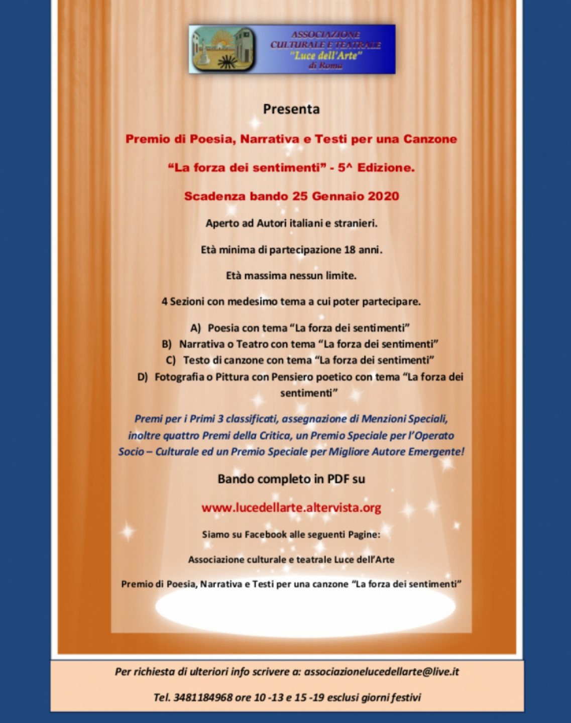 """5^ Edizione Premio di Poesia, Narrativa e Testi per una canzone """"La forza dei sentimenti"""""""