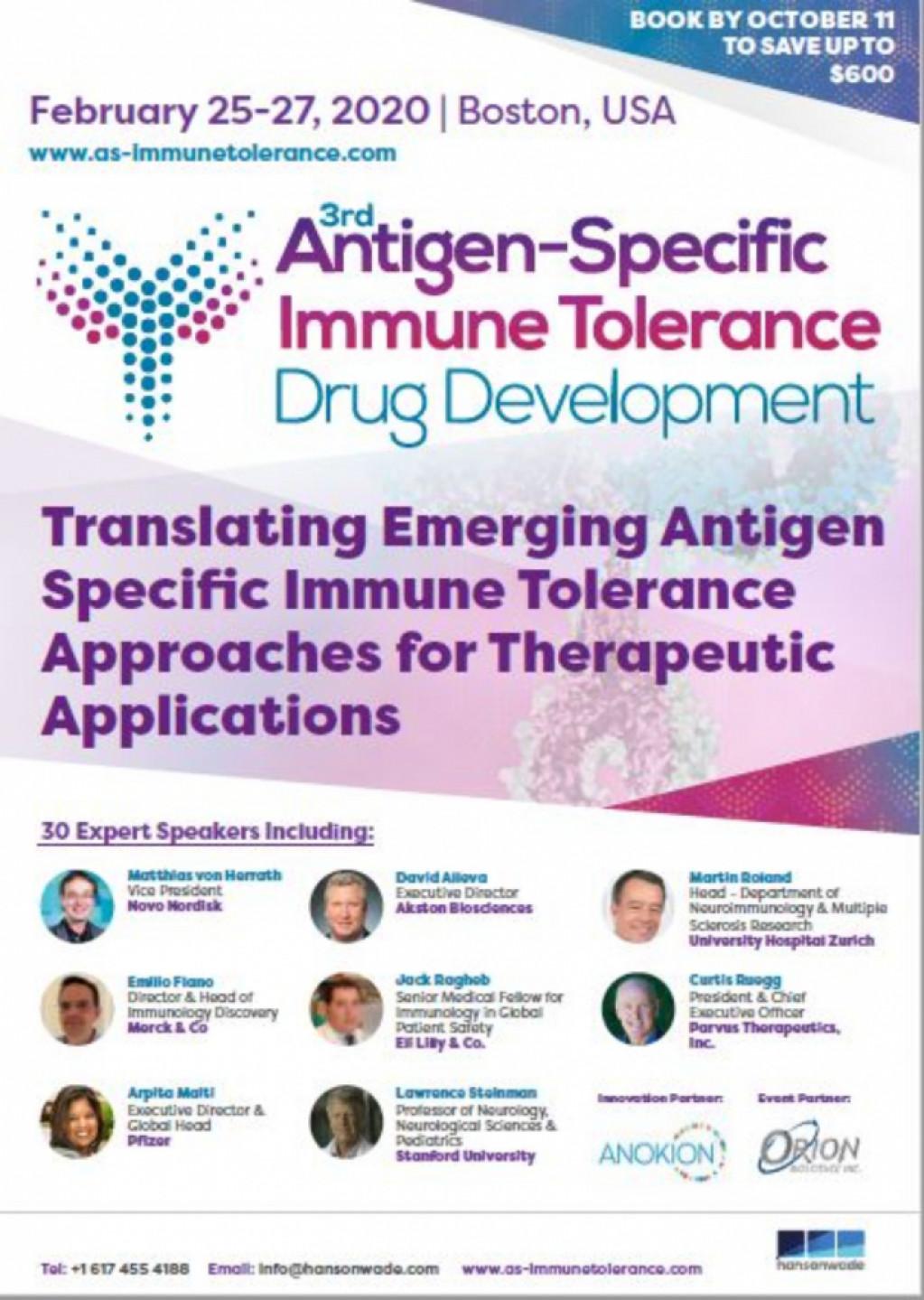 3rd Antigen Specific Immune Tolerance Summit