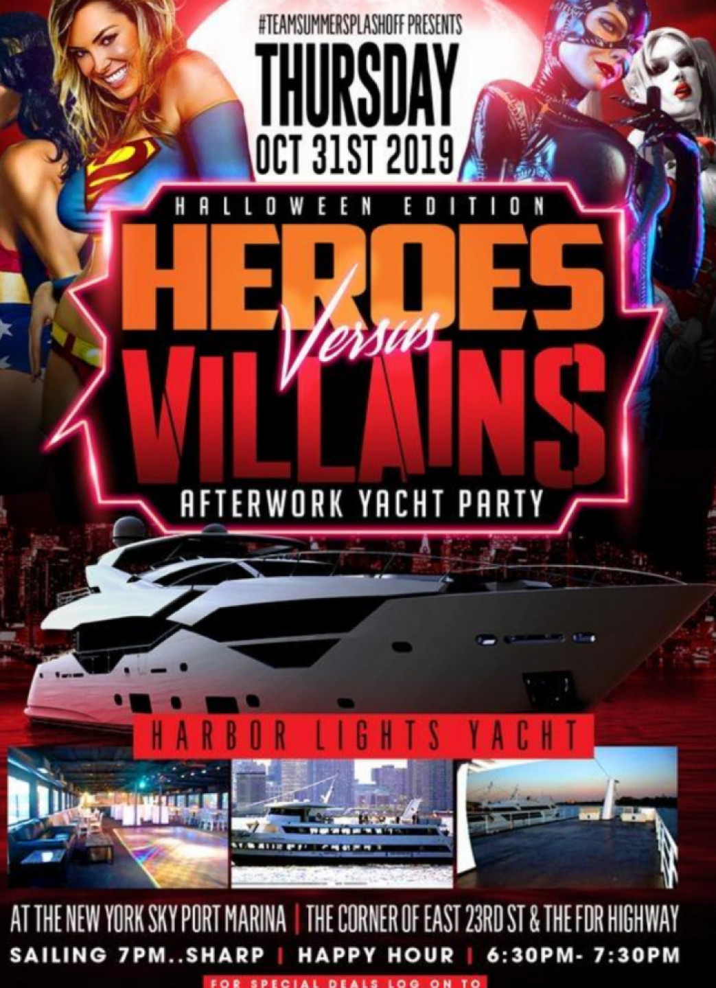 $20 - HEROES vs VIILLAINS HALLOWEEN COSTUME PARTY ABOARD THE HARBOR LIGHTS YACHT. $20.00